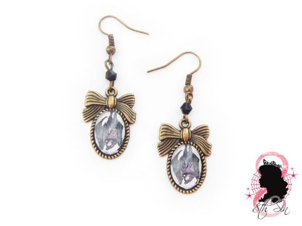 Antique Bronze Vampire Bat Earrings